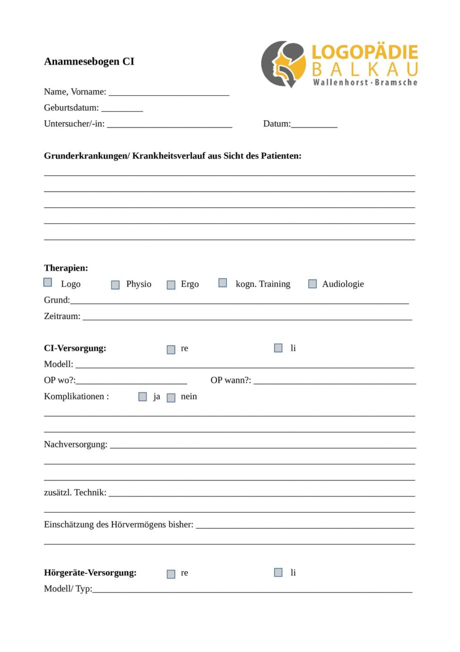 Anamnesebogen CI