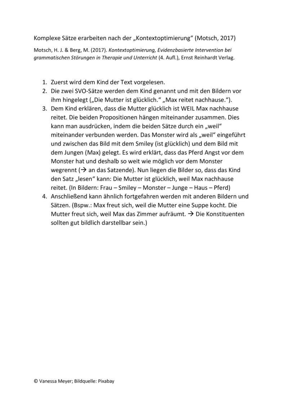 Erarbeitung komplexer Sätze – Kontextoptimierung
