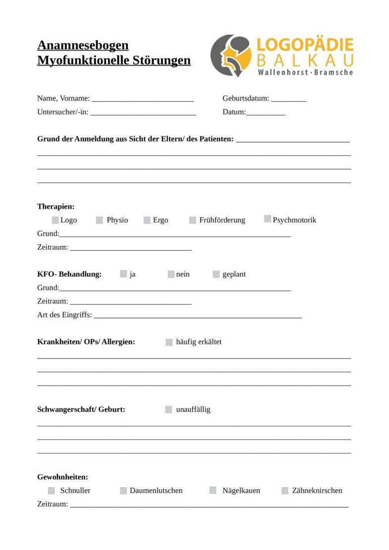 Anamnesebogen myofunktionelle Störungen