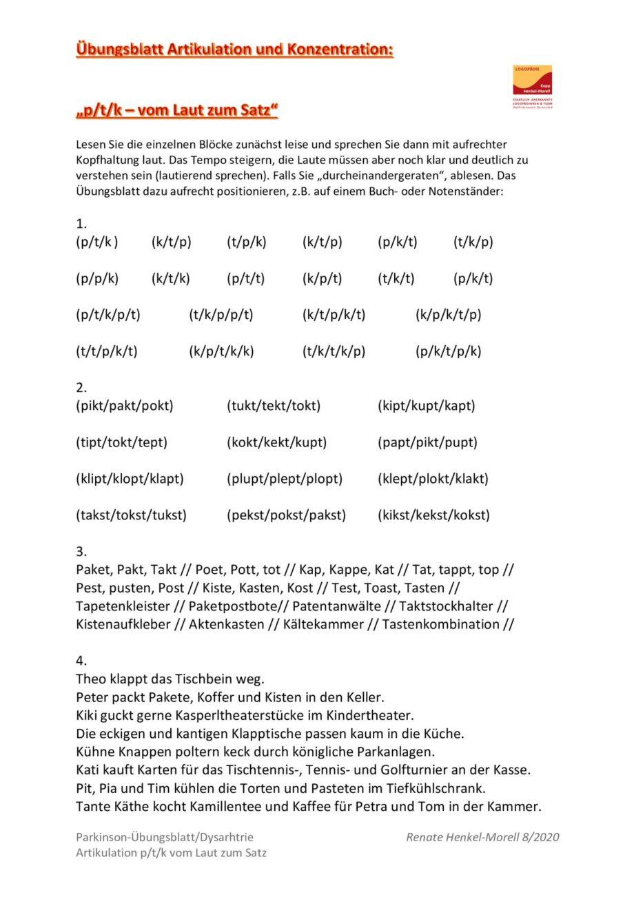 Artikulation und Konzentration: p/t/k – vom Laut zum Satz