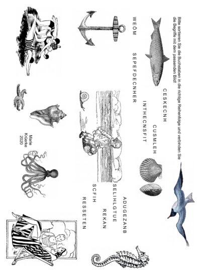 Buchstaben sortieren und Bilder zuordnen: Urlaub am Meer