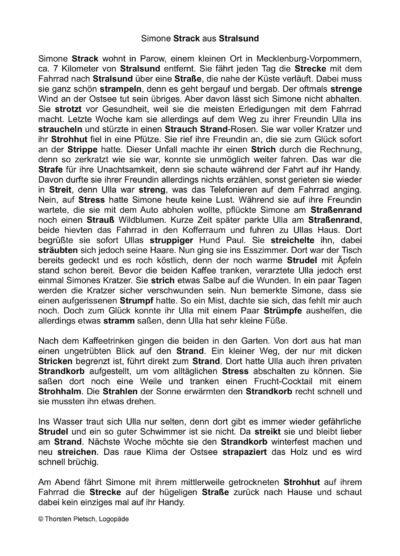 """Lesetext mit """"Str""""-Häufungen"""