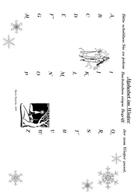 Wortfindungsübung: Alphabet im Winter