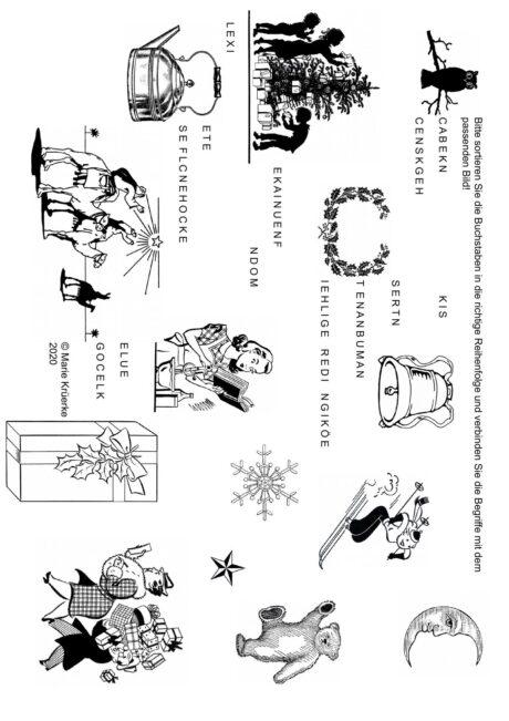 Buchstaben sortieren und Bilder zuordnen: Weihnachten