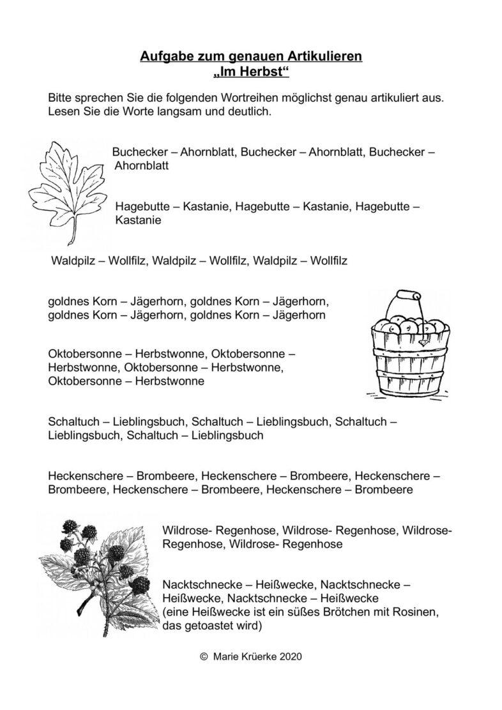 Artikulationsübung für Erwachsene: Im Herbst