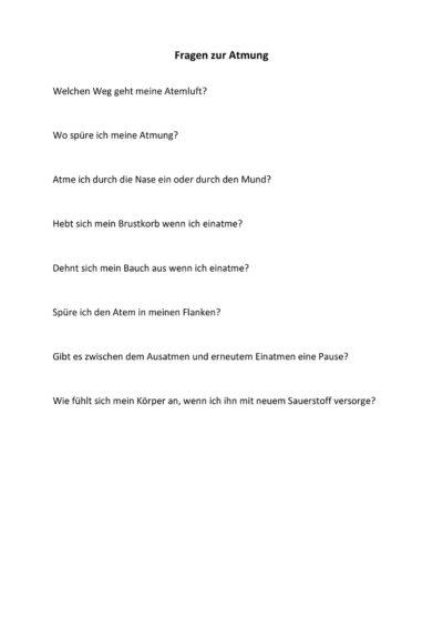 Fragen zur Wahrnehmung der Atmung