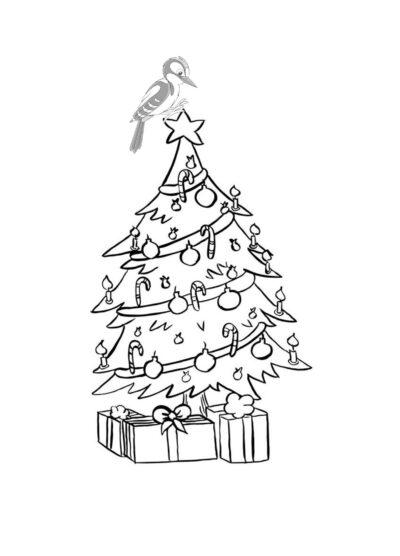 Weihnachtsbaum mit Specht