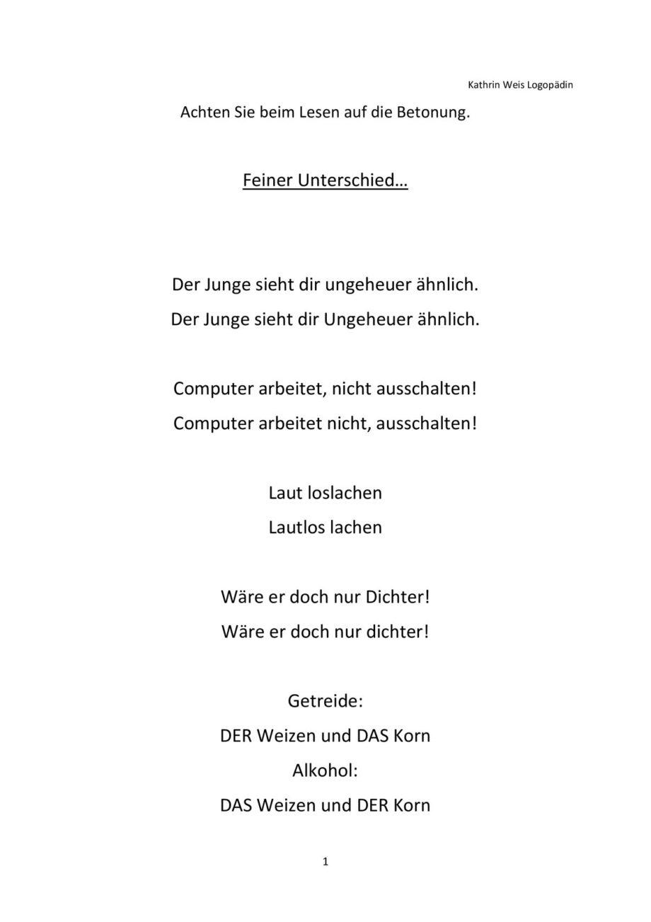 Betonungsübungen Satzebene Prosodie Kommasetzung u.a.