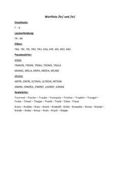 Wortliste TR und KR