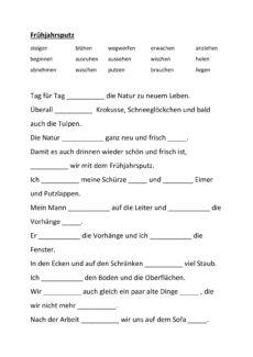 "Lückentext Verben ""Frühjahrsputz"""