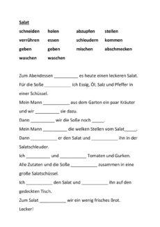 """Lückentext Verben """"Salat"""""""