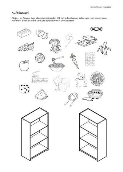Semantisches Sortieren Spielsachen – Lebensmittel
