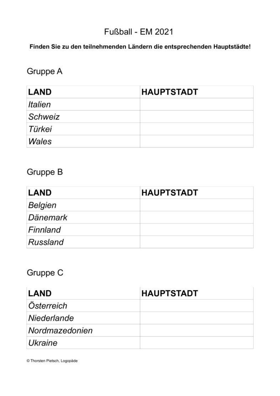Fußball EM 2021 – Hauptstädte finden