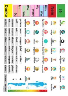 Kommunikationstafel mit Symbolen