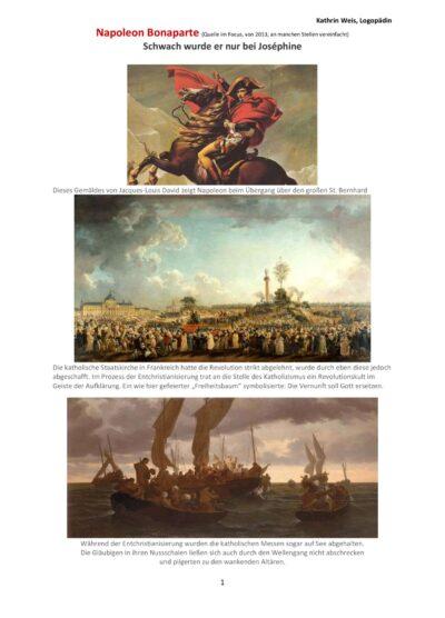 Textarbeit Thema Napoleon Aphasie