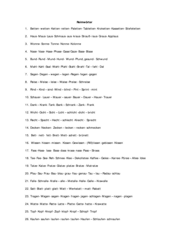 Liste für Reimwörter