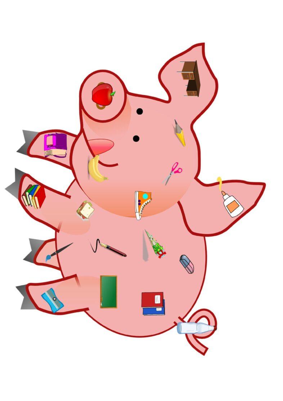 Semantisches Feld Schule – Übung mit Schweinchen