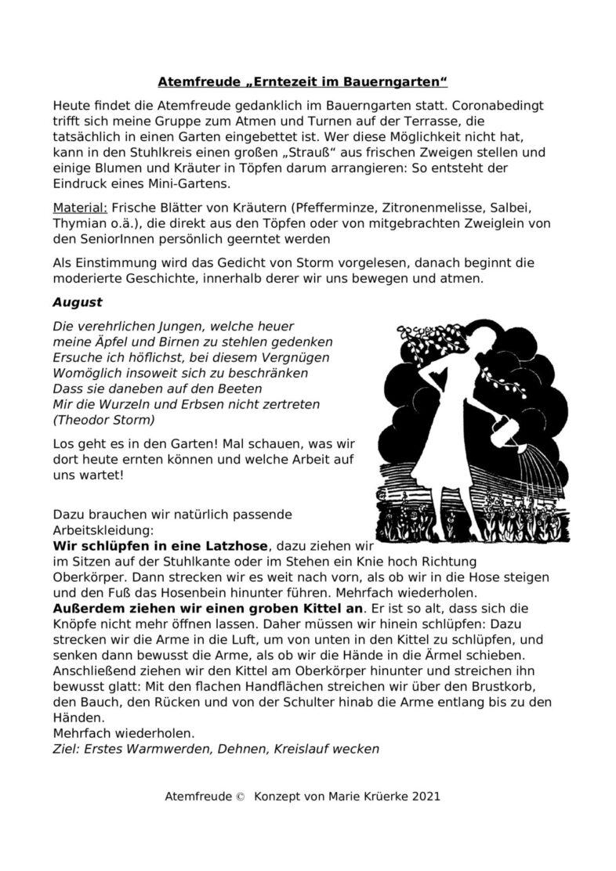 """Atemfreude-Stunde: """"Erntezeit im Bauerngarten"""""""