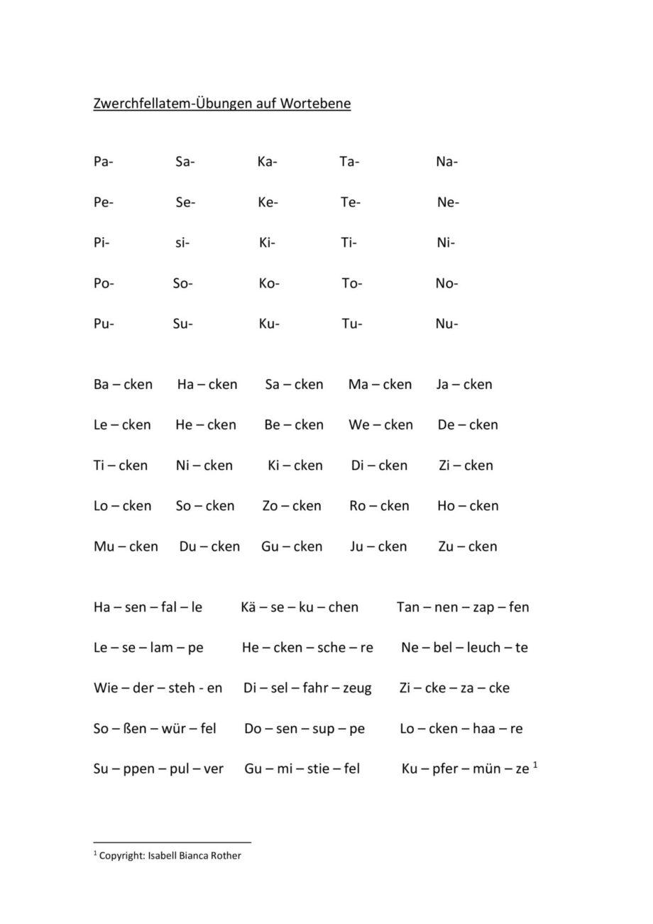 Zwerchfellatem-Übung auf Wortebene