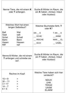 Quiz zur Lautdifferenzierung k und t